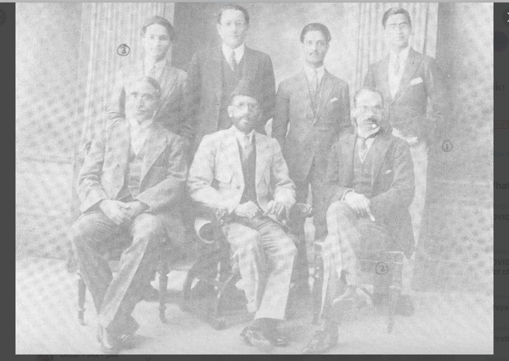 The gentleman sitting on the left is Dr Mukhtar Ahmad Ansari and the person sitting beside him is Hakeem Ajmal khan, one of the top most expertise in the field of Unani medicine of his time.